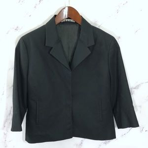 Burberry London Black Snap Front Cropped Jacket